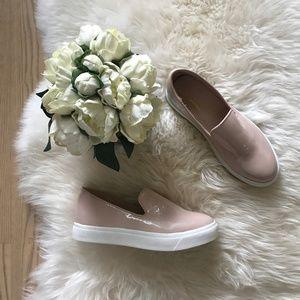Glaze Shiny Blush Pink slip on sneakers/flats